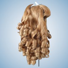 """Human hair wig HC 15"""" for Antique or Vintage German or French doll."""