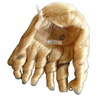 """Human hair wig HC 12.4"""" for Antique or Vintage German or French doll."""