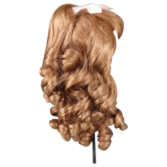 """Human hair wig HC 11"""" for Antique or Vintage German or French doll."""