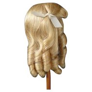 "Human hair wig HC 10.9"" for Antique or Vintage German or French doll."