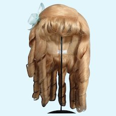 """HC 17"""" Human hair wig for Antique or Vintage German or French doll. PC100"""