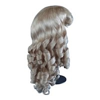 """HC 19.5"""" Human hair wig for Antique or Vintage German or French doll. PC105"""