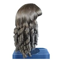 """HC 19.5"""" Human hair wig for Antique or Vintage German or French doll. PC106"""