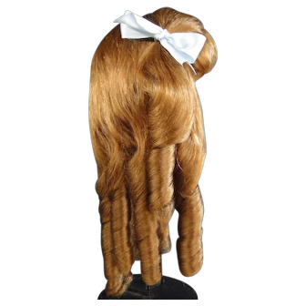 """Human hair wig HC 17"""" for Antique or Vintage German or French doll."""