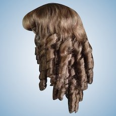 """HC 19.5"""" Human hair wig for Antique or Vintage German or French doll."""