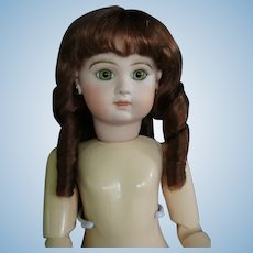 """HC 12.6"""" Human hair wig for Antique or Vintage German or French doll."""