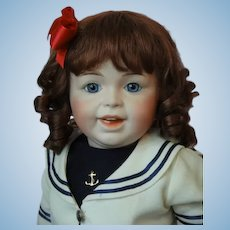 """HC 12.6"""" Human hair wig for Antique or Vintage German or French Baby doll."""