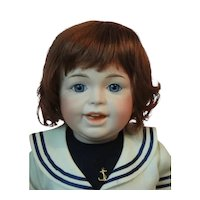 """HC 13"""" Human hair wig for Antique or Vintage German or French doll."""