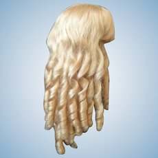 """HC 18.3"""" Human hair wig for Antique or Vintage German or French doll."""