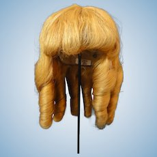 """HC 12.4"""" Human hair wig for Antique or Vintage German or French doll."""