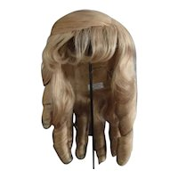 """HC 16"""" Human hair wig for Antique or Vintage German or French doll."""