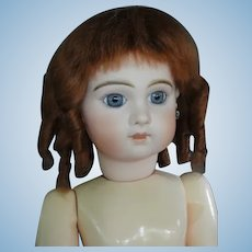"""HC 12.6"""" Mohair wig for Antique or Vintage German or French doll."""