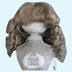 """HC 8.07"""" Mohair wig for Antique or Vintage German or French doll."""