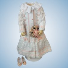 Cotton dress for French Fashion doll - Huret - Barrois - Jumeau.