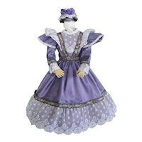Purple Silk dress for French Fashion doll - Huret - Barrois - Jumeau.