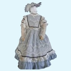 Blue Silk dress for French Fashion doll - Huret - Barrois - Jumeau.