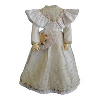 Beige silk dress for French Fashion doll - Huret - Barrois - Jumeau.