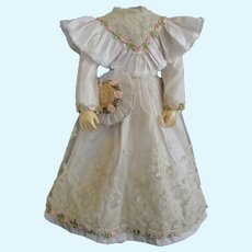 Beige silk dress for French Fashion doll - Huret - Barrois - Jumeau.