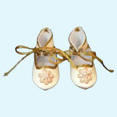 """Leather doll shoes - length 1.58"""" (4 cm) One of a kind. Bleuette Size"""