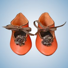 """Leather doll shoes - length 3.94"""" (10 cm) One of a kind."""