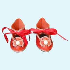 "Leather doll shoes - length 3.08"" (7.8 cm) One of a kind."