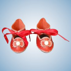 """Leather doll shoes - length 3.08"""" (7.8 cm) One of a kind."""