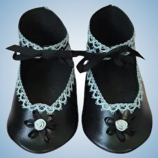 """Leather doll shoes - length 4.93"""" (12.5 cm) One of a kind."""