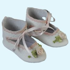 """Leather doll shoes - length 2.56"""" (6.5 cm) One of a kind."""