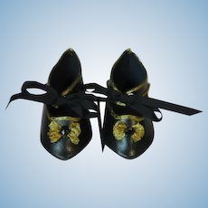 "Leather doll shoes - length 2.76"" (7 cm) One of a kind."
