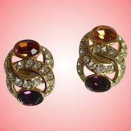Nolan Miller's Simulated Amethyst and Citrine Clip Earrings