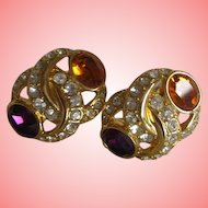 Nolan Miller's Simulated Amethyst and Citrine Pierced Earrings