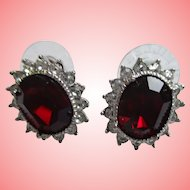Nolan Miller's Birthday Wishes Pave' Style Pierced Earrings - Simulated Garnet