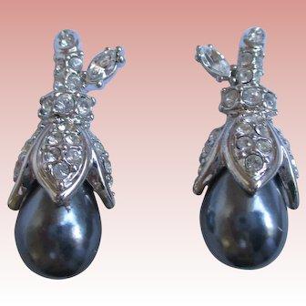 Nolan Miller's Faux Black Tahitian Pearl Earrings - Clip