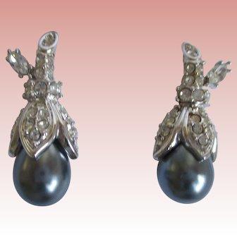 Nolan Miller's Faux Black Tahitian Pearl Earrings - Pierced