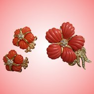 RARE - Nolan Miller's Vintage Coral Flower Pin and Clip Earrings Set
