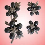 Nolan Miller's A Sprig of Blossoms Pin and Clip Earrings Set