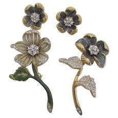 Nolan Miller's Set of 2 Enamel & Pave' Flower Pins/Earrings - VIOLET