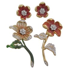 Nolan Miller's Set of 2 Enamel & Pave' Flower Pins and Earrings - CORAL