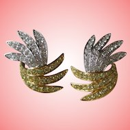 Nolan Miller's Pave' Feather Clip Earrings