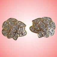 Nolan Miller's Pave' Rose Clip Earrings