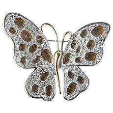 Nolan Miller's Pink Cathedral Butterfly Pin/Brooch