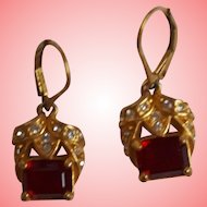 Nolan Miller's Antique Style Simulated Ruby Earrings