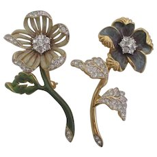 Nolan Miller's Set of 2 Enamel & Pave' Flower Pins - VIOLET