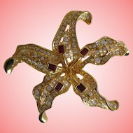 Nolan Miller's Tiger Lily with Ruby Stamen Pin