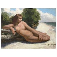 Nude on  Beach by Harry Worthman