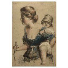 Mother and Child 19th century drawing