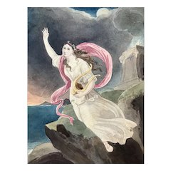 Sea Nymph with Harp 19th century watercolor framed
