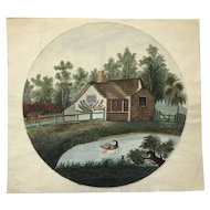 House with Pond watercolor early 20th century