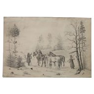 Landscape with Horses 19th century drawing