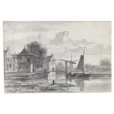 Boat in Harbor 19th century drawing